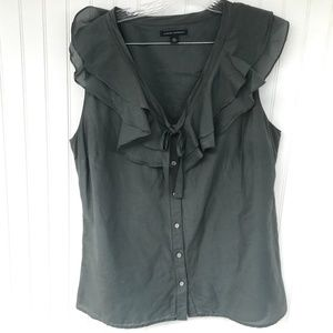 BANANA REP Gray Silk Blouse Sleeveless Ruffle XL